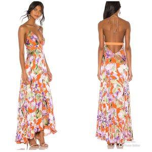 Alice + Olivia Hetty Halter Maxi Dress Palm Coral